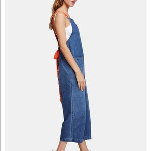 Free People Denim Overall Jumpsuit